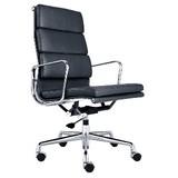 【オフィスに最適】アルミナムチェア ハイバック ソフトパッド ブラック オフィスチェア