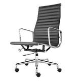 【オフィスに最適】アルミナムチェア ハイバック フラットパッド ブラック オフィスチェア