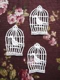 【副資材】オリジナルレース*小さな鳥かごと小鳥*3枚セット♪ハンドメイド作品や小物のポイントに♪