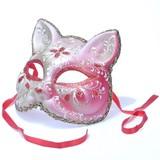 イタリア製ベネチアマスク【Il Gatto】キャッツ・ねこ型仮面レッド 赤 ゴールド