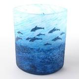 【月夜野工房】深い青が印象的なカーヴグラス 花瓶 〜海の詩〜