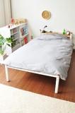 【直送可】【売れ筋パイプベッド】 便利な棚&コンセント付き シンプルベッド