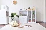 【直送可】【キッチンミニ収納】♪輝く鏡面仕上げ済み♪ カップボード食器棚 高さ90cmタイプ