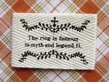 【副資材】オリジナル布製タグ綾織*横長*丸蔦草*2枚入*ハンドメイド作品や小物のポイントに*