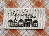 【副資材】オリジナル布製タグ綾織*横長*夜空と街*2枚入*ハンドメイド作品や小物のポイントに*