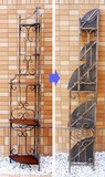 アイアンフレーム 【木製棚/5段シェルフ (コーナー用)】アンティーク調◆