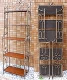 アイアンフレーム/木目木製棚【-5段シェルフ-】アイアンフレーム/飾り台/折り畳み式