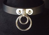 Genuine Leather Choker Double Ring