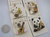 手作り 組木の動物と楽器のブローチ 猫 ウサギ パンダ
