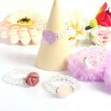 天然石リング 薔薇彫り&天然水晶 パワーストーンリング【FOREST 天然石 パワーストーン】