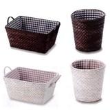 オープンバスケット:ゴミ箱式カゴ/バスケット(Color straw) -1050