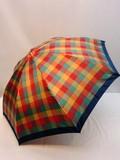 【通年新作】雨傘・折畳傘-婦人 甲州産先染め格子軽量折り畳み日本製雨傘