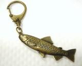 ◇日本製◇オリジナル◇【★渓流釣りのあこがれの魚!】イワナキーホルダー(真鍮古美)