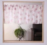 【ローズ】【バラ】 小窓 薄地ボイル生地にバラ柄のプリントカフェカーテン