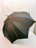 通年新作)雨傘・長傘 婦人花型ヒョウ柄パイピング手開き雨傘