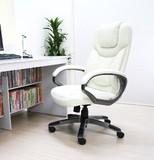 オフィスチェア 肘掛付き・ロッキング機能付き 立体クッション ホワイト