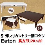 【離島・日時指定不可】Eaton 引出し付きカントリー調コタツ 120×80 BR/WW