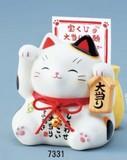 「心を癒す置物とインテリア」大当たり招き猫貯金箱(白・金)