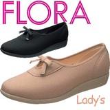 【FLORA】ストレッチ素材の 飾りリボン付レディスシューズ FLO 391