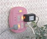 【新商品】【電材商品】【かわいいピンク色が新登場!】雷ガード゙付4口節電コンセント(ピンク)