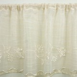 【カフェカーテン】フレンチナチュラル風 ふんわり優しい草花刺繍 ミルナー