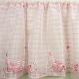 【カフェカーテン】花と蝶の刺繍が大人かわいいピンク メリベル