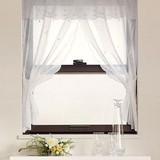 【小窓用カーテン】白花刺繍とビーズをあしらったロングセラーアイテム クロスシュガー