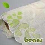 【カフェカーテン用ロール生地】北欧インテリア風 爽やかなグリーンのリーフ柄刺繍 ビーンズ