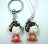 Souvenir Perfect Furi-Furi Apprentice Geisha Sitting Key Ring Strap