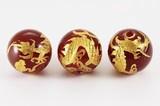 【天然石彫刻ビーズ】レッドメノウ 12mm (金彫り) 五爪龍【天然石 パワーストーン】