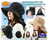 【UV対策】首筋まですっぽりロングケープ帽子