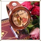 ○ 本革 レザーベルト デガフェイス ファッションウォッチ 腕時計 ネコ B ○
