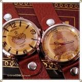 ○ 本革 レザーベルト デガフェイス ファッションウォッチ 腕時計 C ○