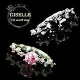 ピンク&ブラックCZダイヤ★華奢なリングに繊細な輝き☆連なるカラーCZダイヤモンド 0.7ctフェミニンリング