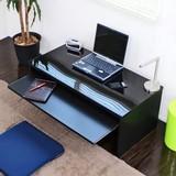 デスク スライドテーブル付90cm幅ローデスク ブラック 日本製