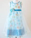 大特価50%引!パーティーや普段使いもOK!  上品なデザインのガールズドレス ブルー 001