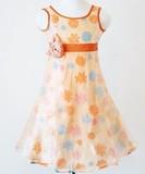 大特価50%引!パーティーや普段使いもOK!  上品なデザインのガールズドレス オレンジ 002