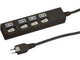 配線器具 個別スイッチ付節電タップ4個口 2m HBKS442WH  白