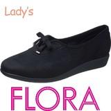 SALE【FLORA】スエード素材の 飾りリボン付レディスシューズ FLO 391