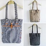 【定番商品】タテ型 トートバッグ 草木織り/ヒッコリー/デニム/PU