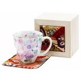■美濃焼ギフト■和藍 花工房マグカップ ピンク(ちりめん木箱)