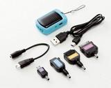 ソーラーモバイルチャージャー(充電用コネクタ付き)(ブルー・ピンク) 【123352】