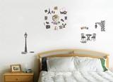 ステッカー+時計でお部屋をコーディネイト♪ウォールデコクロック/フランス パリ