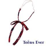 Teens Ever 紐チェックリボン(朱赤/ネイビー/白)