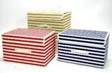 【ストライプ柄】 折りたたみ式 フタ付き収納ボックス
