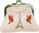 LES INVASIONS EPHEMERES がま口 財布 (小) 赤い鳥とエッフェル塔