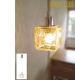 【ひび割れガラスが美しい】1灯ペンダント(クリア・アンバー)