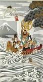 【和風のれん】★日本伝統の柄★浮世絵のれん 宝船 の柄