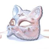 イタリア製ベネチアマスク【Il Gatto】ガット・ねこ型仮面 オレンジ ベージュ