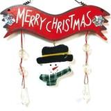 15cm《クリスマス》ウッドスノーマンハンガー レッド お部屋やお家の玄関の装飾に